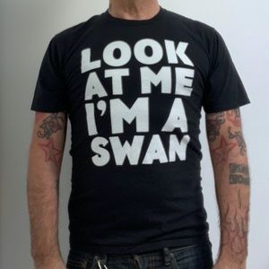 LOOK AT ME I'M A SWAN Blk Statement Hipster Tee